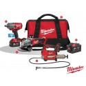 Pack 1: Llave de impacto, amoladora, engrasadora + batería extra y bolsa para transporte